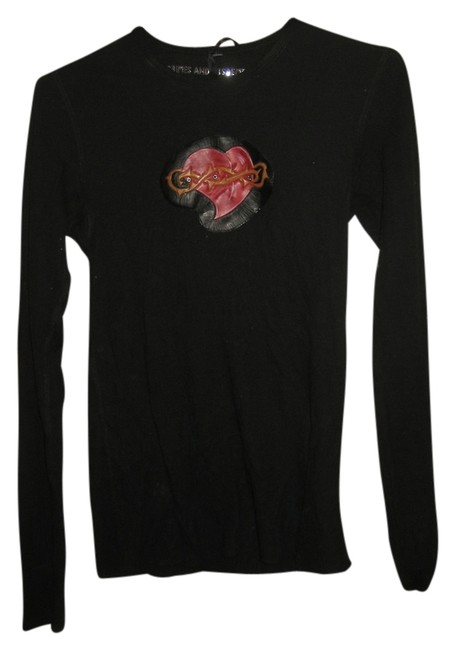Crimes and Misdimeanors Longsleeve Heart Valentine's Day Top black