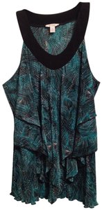 Dress Barn Ruffle Sleeveless Cascading Top Sky blue, black, white