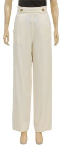 Saint Laurent Wide Leg Pants Cream
