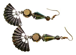 New Earrings Fan Crystals Long 3 Inch Dangle Jewelry Handmade J891 Summersale