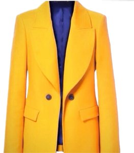 Zara Double Breasted Yellow Cotton Tangerine Blazer