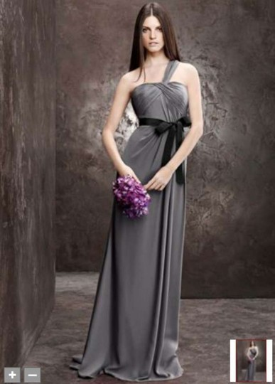 Vera Wang Charcoal Chiffon Vw360070 Formal Bridesmaid/Mob Dress Size 0 (XS)