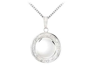 LoveBrightJewelry White Sterling Silver Round Locket with Floral Design 18.50 Mm Necklace