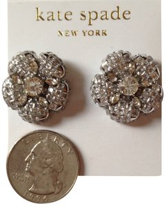 Kate Spade Kate Spade Flower Shape Crystal Stud Earrings Silver Tone Stud Earrings