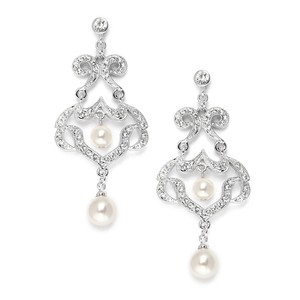 Mariell Silver Cz Chandelier with Ivory Pearls 3829e Earrings
