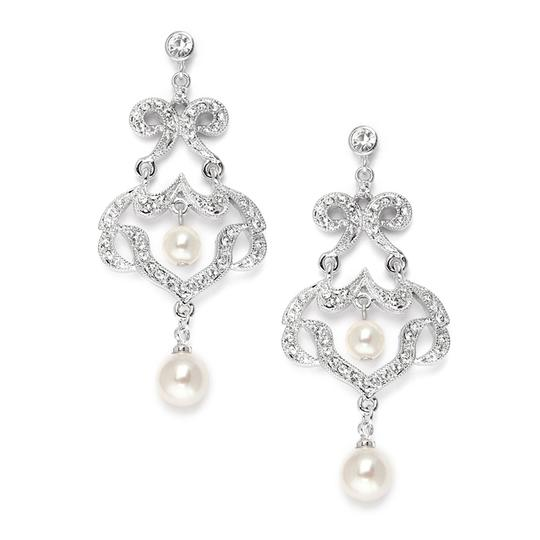 Mariell Silver Chandelier with Ivory Pearls 3829e Earrings