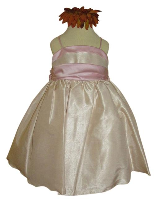 Item - Champagne / Pink 1084 Flowergirl (A-28-3) Mid-length Formal Dress Size 2 (XS)