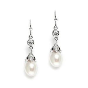 Mariell Silver Vintage with Oval Pearl Drops 3689e Earrings