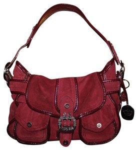 Gianni Bini Suede Patent Leather Front Flap Hobo Bag