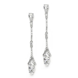 Mariell Delicate Cubic Zirconium Linear Wedding Or Bridesmaids Earrings 3787e
