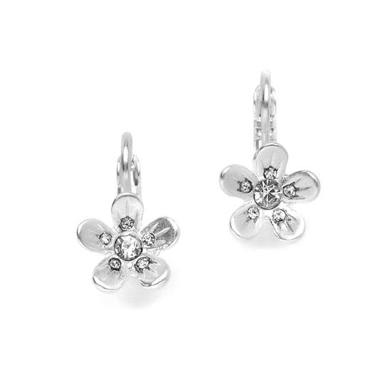 Mariell Silver Matte Flower Prom Or Bridesmaids 4122e-ms Earrings