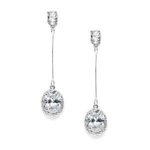 Mariell Cubic Zirconia Oval Dangle Bridal Prom Or Bridesmaids Earrings 3636e