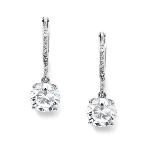 Mariell Silver 2 Ct. Cubic Zirconia Or Bridesmaids Drop 3516e Earrings