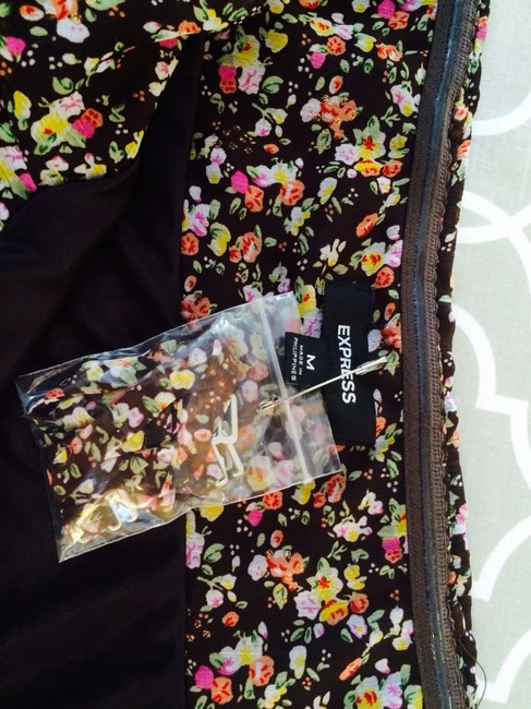 Express short dress Chocolate Brown With Floral Detailing on Tradesy
