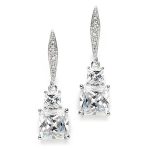 Mariell Princess Cut Cz Vintage Wedding Or Bridesmaids Drop Earrings 3786e