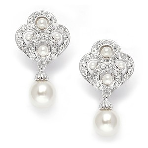 Mariell Art Deco Cubic Zirconia & Pearl Drop Wedding Earrings 3830e