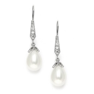 Mariell Silver Vintage French Wire with Pearl Teardrops with Cz Pave 3777e Earrings