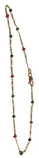 Other NEW 14K YELLOW GOLD ANKLET WITH COLORFUL BEADS