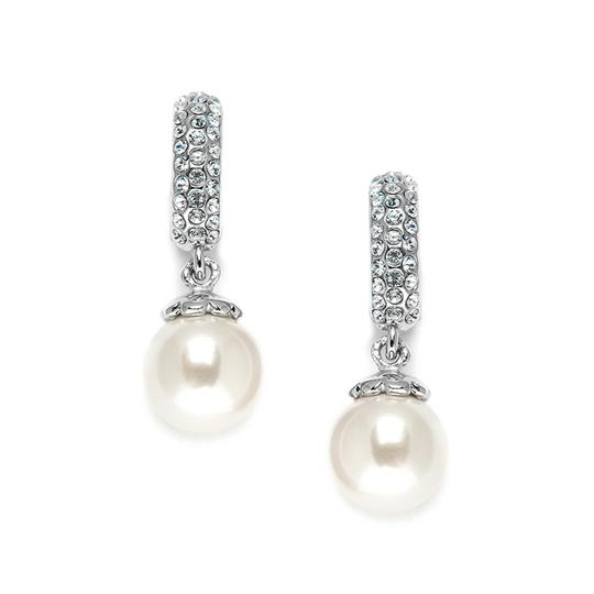 Mariell Clip On Pearl Wedding Earrings With Inlaid Cubic Zirconia 3626ec
