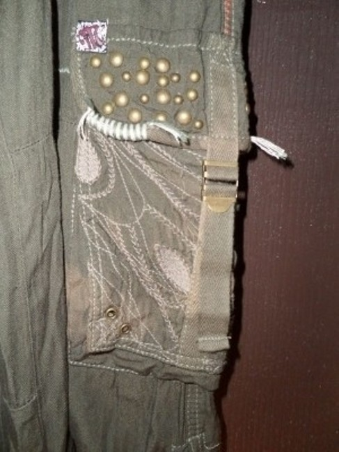 Miss Me Pockets Pull Ties Beaded Unique Soft Cargo Pants Olive Green