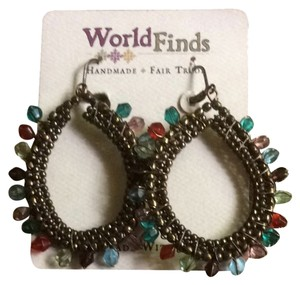 World Finds Gem Hoop Earrings