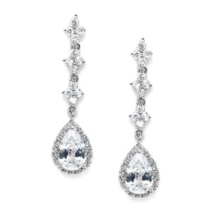 Mariell Bridal Or Prom Cubic Zirconia Dangle Earrings 3517e
