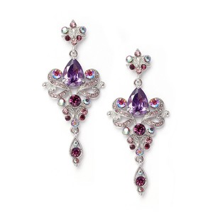 Mariell Art Nouveau Violet Cubic Zirconia Bridesmaids Or Prom Earrings 741e-vi
