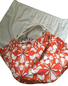 Emilio Pucci Orange Coral Peach And White Beach Bag