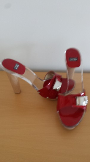 Stuart Weitzman Patent Leather Red Heel Summer Red, lucite, wood Sandals