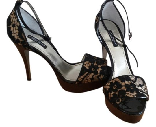 Dolce&Gabbana Patent Leather Heel Ankle Strap Summer New BLACK LACE WOOD IVORY Sandals