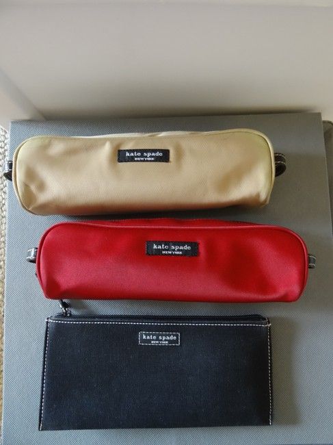 Item - Black/ Red/ Tan Canvas Pencil Case with Gingham Lining Cosmetic Bag