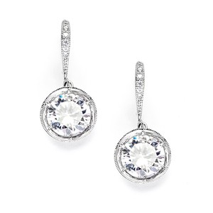 Mariell Vintage Cubic Zirconia Dangle Wedding Earrings 3558e