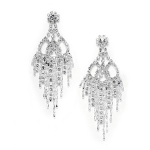 Mariell Rhinestone & Beads Prom Chandelier Earrings 3472e