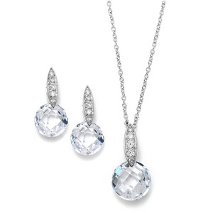 Mariell Faceted Crystal Drop Necklace And Earrings Set With Cubic Zirconia 3531s