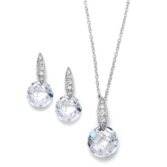 Mariell Silver Faceted Crystal Drop Necklace and Set with Cubic Zirconia 3531s Earrings
