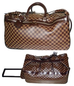 Louis Vuitton Luggage Rolling Duffel Rolling Luggage Soft Sided Luggage Damier Ebene Brown Travel Bag