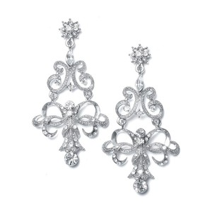 Mariell Vintage Ribbon Crystal Chandelier Earrings 190e-cr