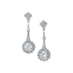 Mariell Cubic Zirconia Vintage Bridal Earrings With Round Solitaire 2011e
