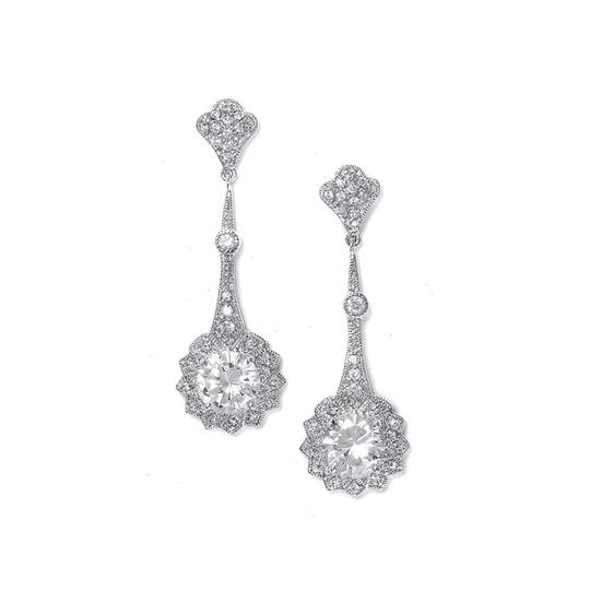 Mariell Silver Cubic Zirconia Vintage with Round Solitaire 2011e Earrings