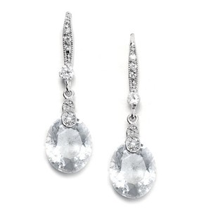 Mariell Silver Vintage Cz with Faceted Crystal Drops 2012e Earrings