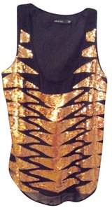 Ark & Co. Gold Sequin Sleeveless Party Sparkle Top Black
