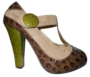 Naughty Monkey Leather brown, tan & green Platforms