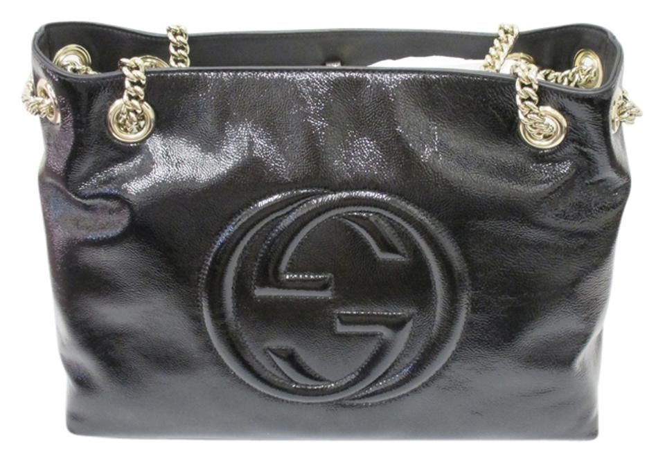 1614736f2b73 Gucci Soho W Medium W/ Gold Chain Straps - New Black Patent Leather  Shoulder Bag