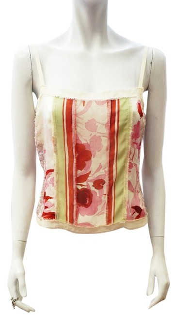 St. John New Couture Cream Floral Sheer Eyelash Lace Silk Blouse M 8 Top Multi-color