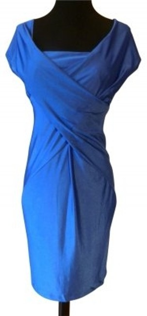 Preload https://img-static.tradesy.com/item/30229/blue-silk-knit-draped-fitted-knee-length-cocktail-dress-size-6-s-0-0-650-650.jpg