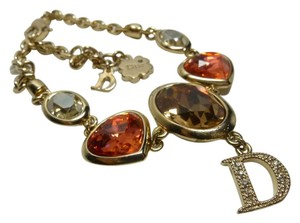 Dior Authentic Christian Dior Glass Rhinestone Crystal D Logo Charm Bracelet