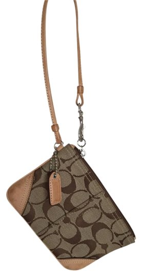 Coach Leather Monogram Wristlet in Tan/Brown