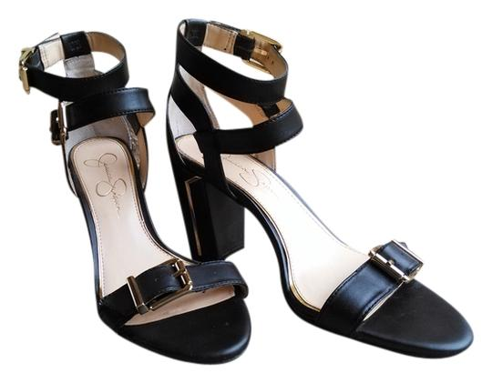 Jessica Simpson black with gold accents Sandals