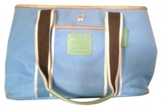 Preload https://item3.tradesy.com/images/coach-hamptons-weekend-small-bluebrowngreen-nylonleather-tote-30237-0-0.jpg?width=440&height=440