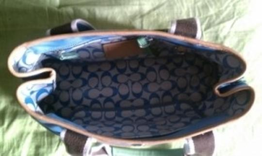 Coach Tote in Blue/Brown/Green